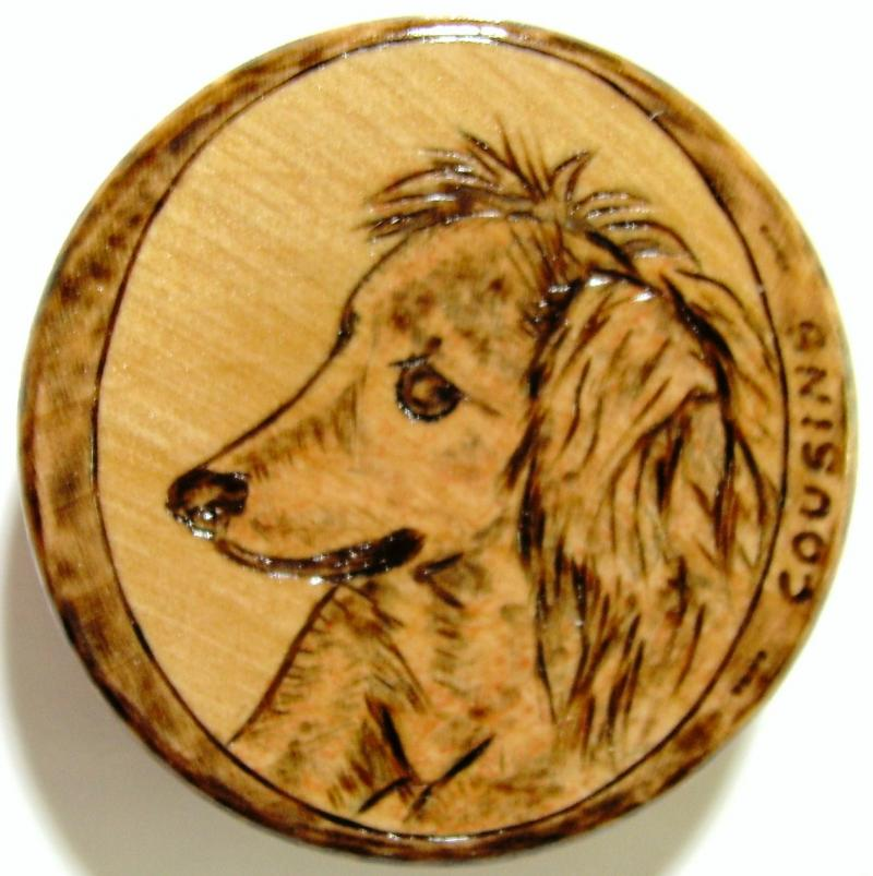 Commissioned PYROGRAPHIC ART, Wooden Magnet. General $5.00, Commission $15.00