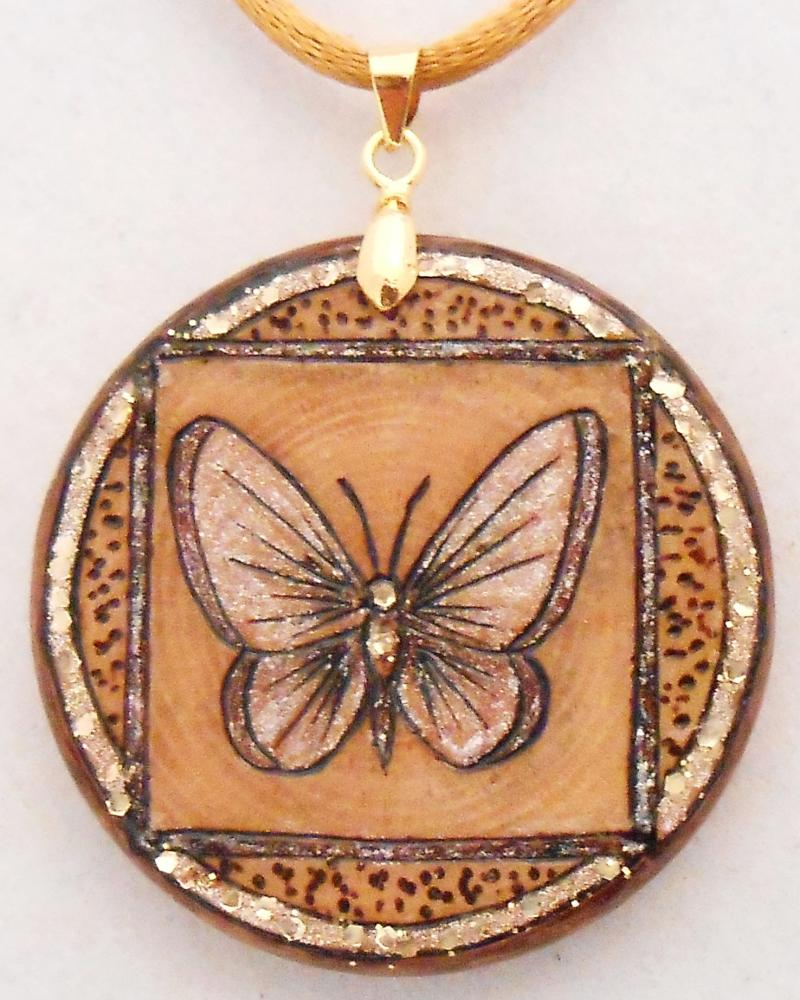 "#11-14, ""BUTTERFLY"", Sq frame, Gold glitter border-head-body.  Shimmer wings. TG"