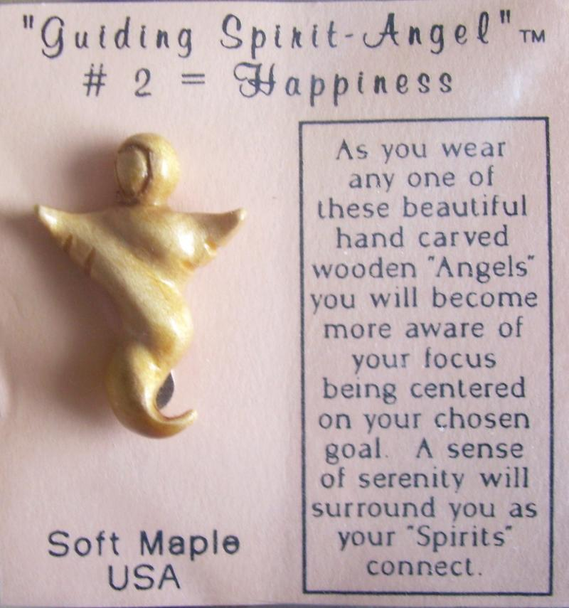 ANGEL PIN, hand carved wood, #2 of 6, HAPPINESS, $20.00 each, S/H $3.50