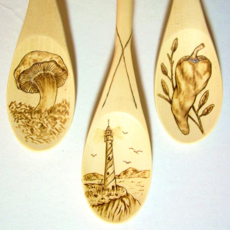Spoons, Pyro-engraved, for use and/or display. Finished with food safe oils..