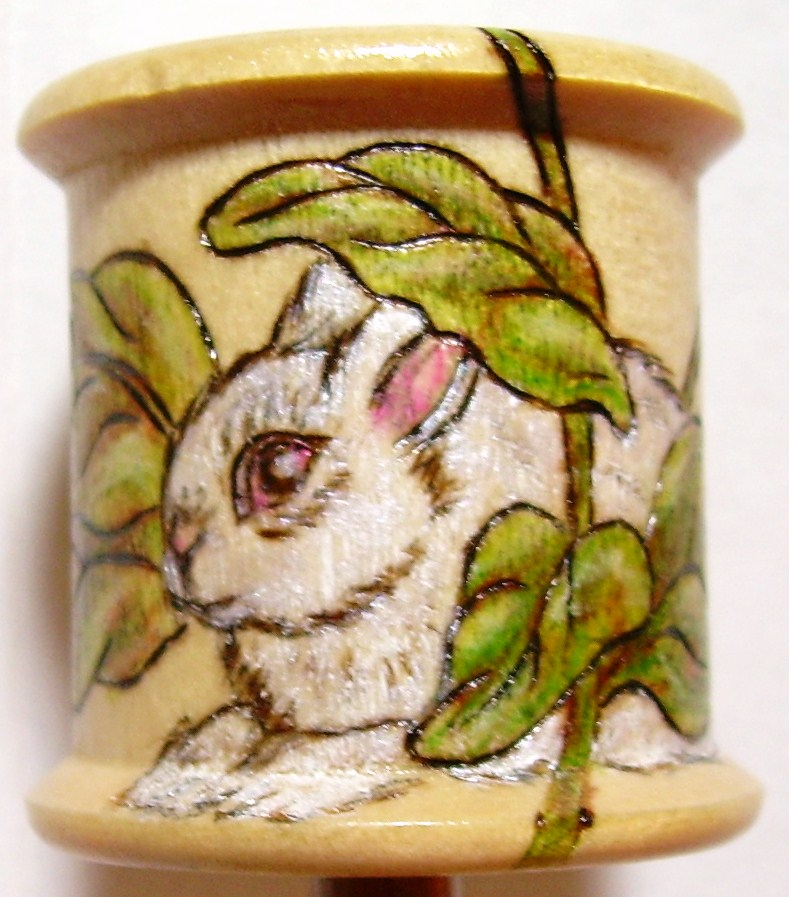 #5, THREAD SPOOL, White Rabbit in the Leaves, $30.00, S/H $3.50, Commission +$5.