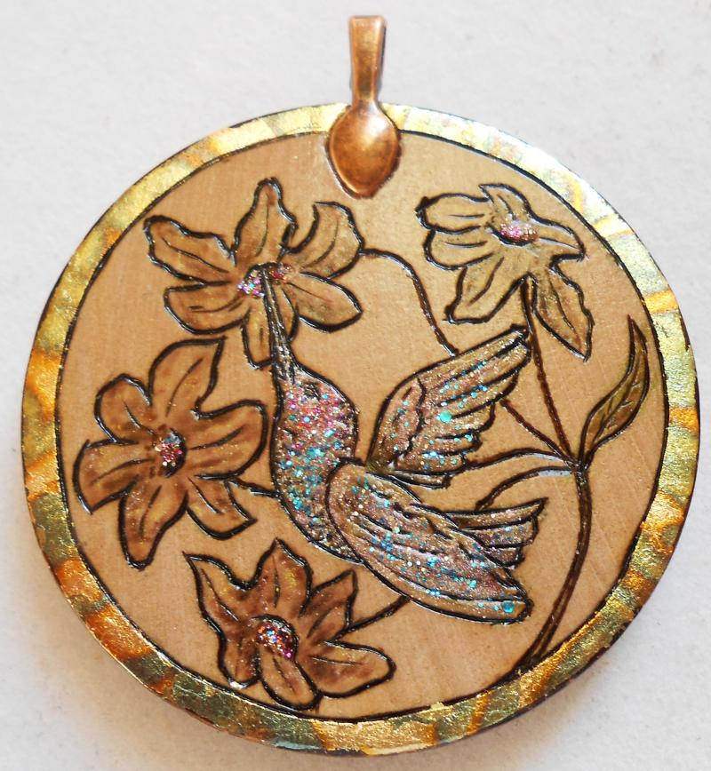 "#7-2014, ""Hummingbird + Hyacinth"", variegated metal leafing and shimmer."
