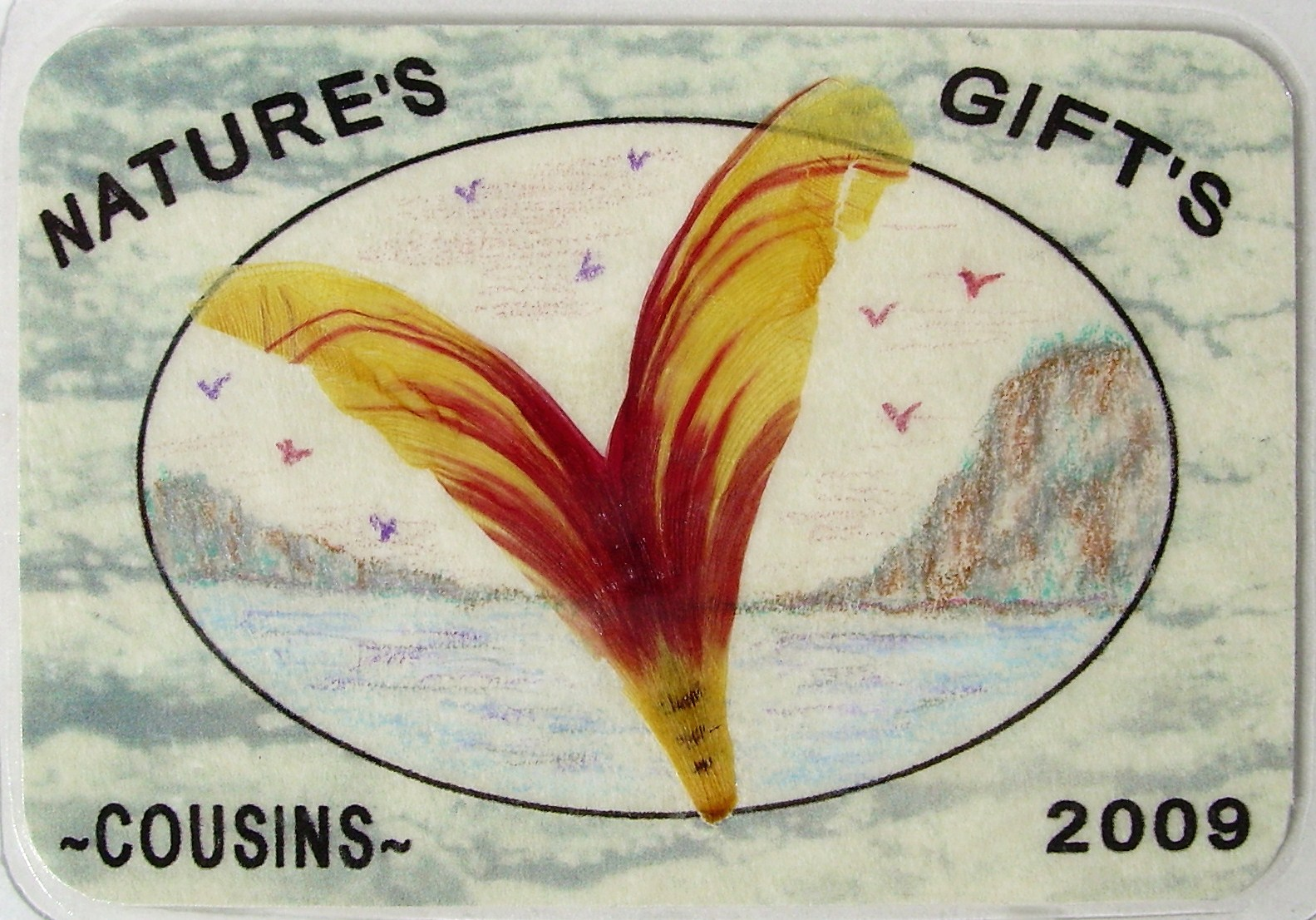 "#9, ""Flight of Fun"" Sea Bird of Tulip petals, ORIGINAL ART, $5.00, FREE shipping"
