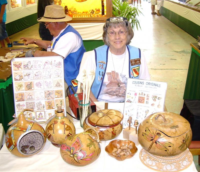 Joan, County Fair, Gourd Art and Pyrography demo
