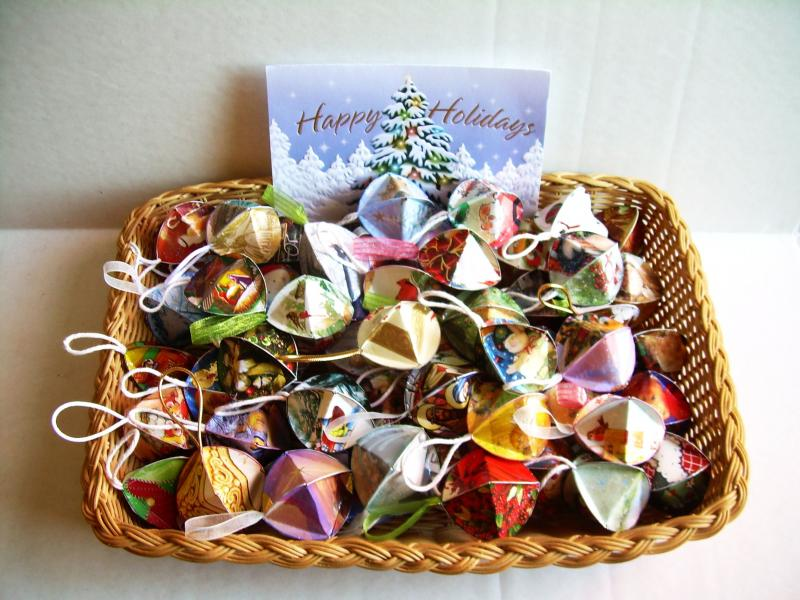 ORNAMENTS, from recycled greeting cards