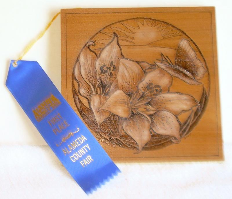 "Pyrography, Tiger Lily,8""x8"" wooden block.  Prices vary, Commissions accepte"